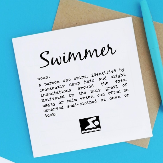 Swimmer Definition. Swimmer Card, Swimming Card, Swimmers Card. Cards for Swimmer, Swim Lover, Open Water Swimming, Open Water Swimmer