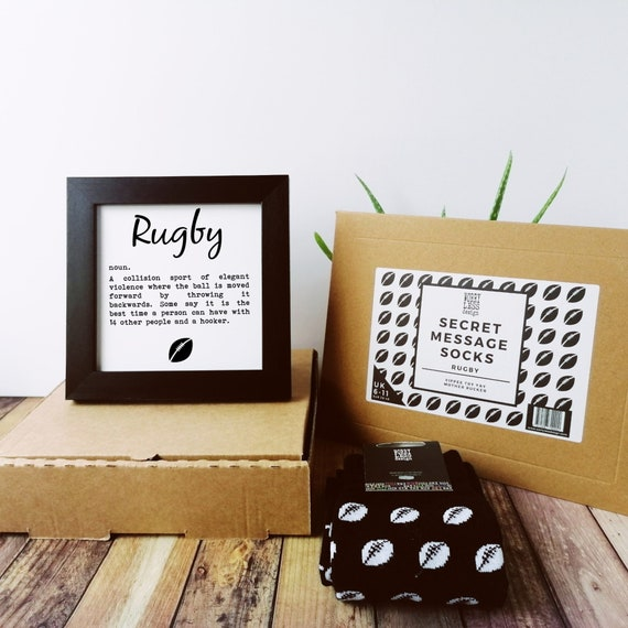 Rugby Gifts - Rugby Gift Set - Socks and Framed Print. Gift Box for Him, Gift Box for Men, England Rugby Gift