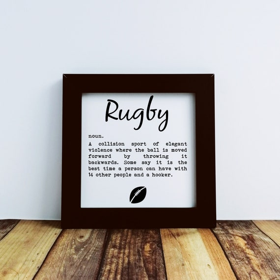 Rugby Gifts - Rugby. Small Framed Print. Funny Rugby Gift, Gift for Rugby Fan, Rugby Coach Gift, Rugby Fan Gift, Rugby Gifts for Men