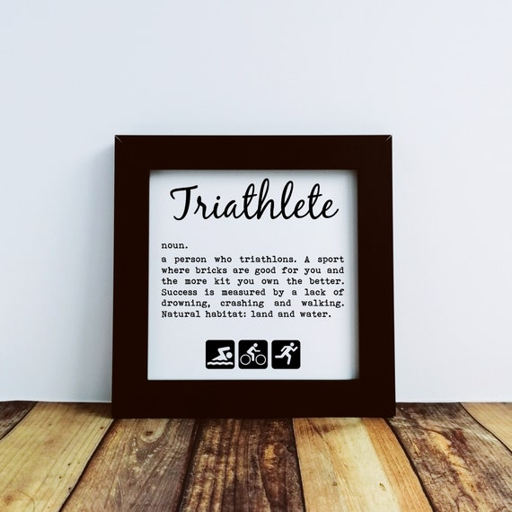 Triathlon Gifts, Triathlete Definition. Small Framed Print. Gift for Triathlete, Ironman Gifts, Ironman Triathlon, Triathlon Wall Art