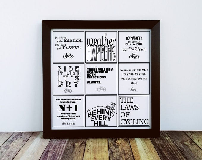 Large Print - The Laws of Cycling - Cycling Gift