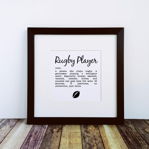 Rugby Gifts - Rugby Player Definition - Large Framed Print. Rugby Art, Funny Rugby Gift, Gift for Rugby Fan, Rugby Gift Ideas.