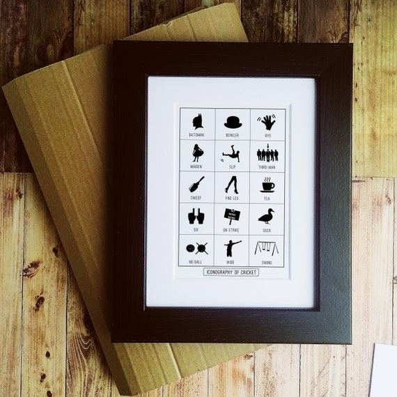 Cricket Gift. Iconography of Cricket - Letter Box Gift, Mounted or Framed.