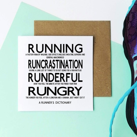 A Runner's Dictionary....Running Card, Runner Card, Card for Runner, Marathon Card, Half Marathon Card, Funny Running Card, Sporty Card