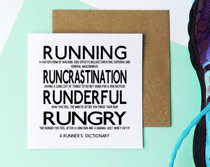 Greetings Card - A Runner's Dictionary.... - Presents for Runners