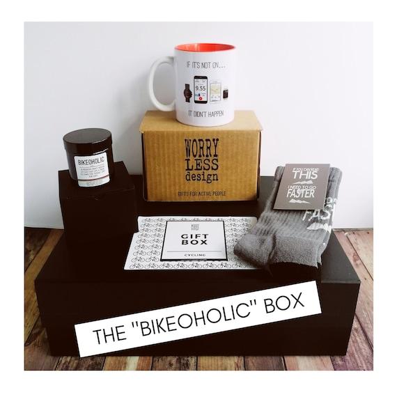 "Cycling Gifts - Cycling Gift Set - The ""Bikeoholic"" Box. Cycling Gifts for Men - Cycling Gifts for Women"