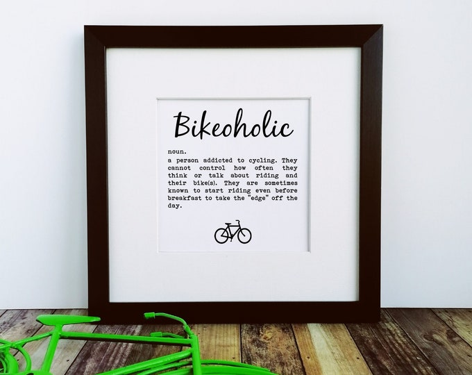 Large Framed Print - Bikeoholic - Presents for Cyclists