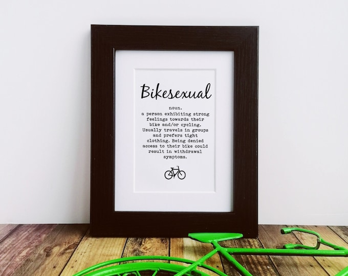 Cycling Gifts - Bikesexual - Framed or Mounted Print, Gift for Cyclist, Bike Gifts, Funny Cycling Art, Letterbox Gift