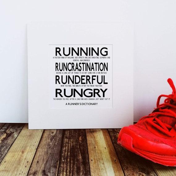A Runner's Dictionary - Running Gift, Funny Running Gift, Gift for Runner, Running Print, Running Wall Art, Runner Print