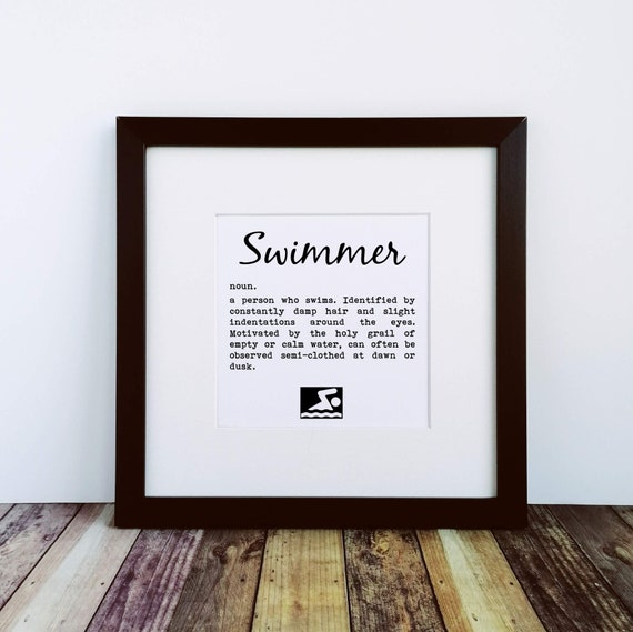Large Framed Print - Swimmer Definition - Presents for Swimmers