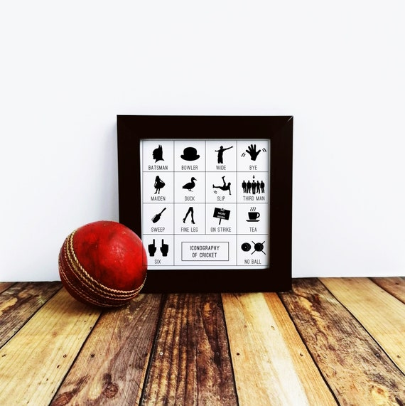 Cricket Gift - Iconography of Cricket - Small Framed Print. Cricket Wall Art. Cricket Art Print, Cricket Lover Gift. Cricket Player Gift