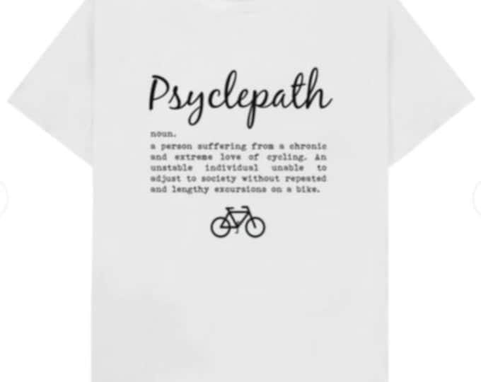 White Psyclepath T-shirt and Navy Bikeoholic T-Shirt
