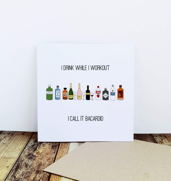 Funny Fitness Card - I drink while I workout - Fitness Gifts