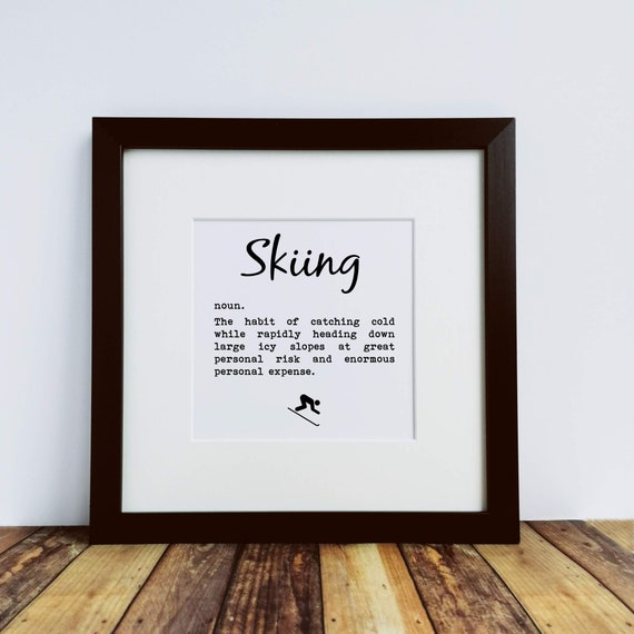 Skiing Decor - Skiing Definition, Large Framed Print, Skiing Wall Print, Skiing Gift, Skiing Wall Art, Gifts for Skier, Skiing Print.