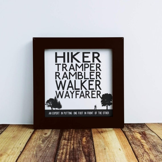 Walking Gift - Small Framed Print, Walker Definitions. Walker Gift. Rambler Gift, Funny Walking, Hiker Gift, Gift for Hikers, Hiking Gift