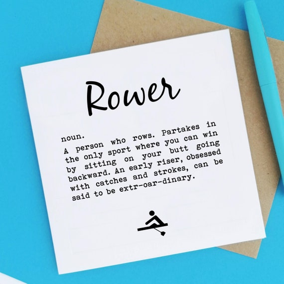 Rower Definition - Rowing Card. Greeting Card for Rower. Rowers Card. Rower Card. Birthday Card for Rowers. Funny Rowing Card.