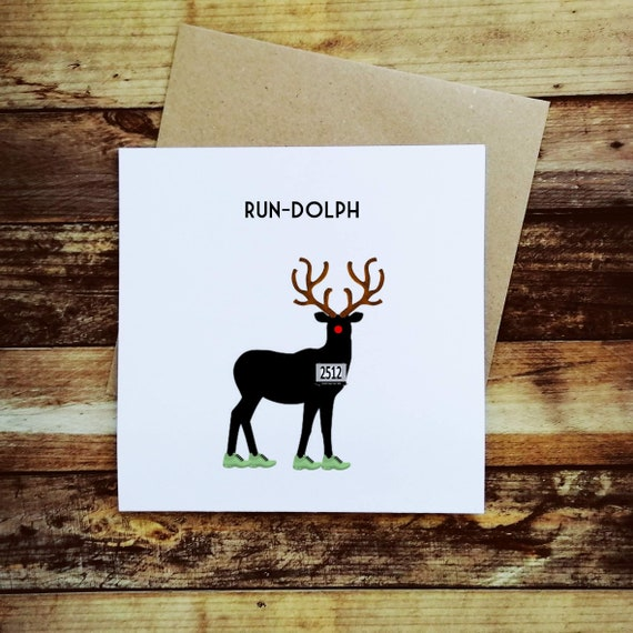 Running Christmas Card - Rundolph - Christmas Card for a Runner