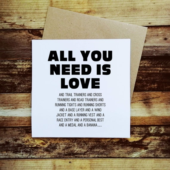 All you need is Love and - Running Card, Runner Card, Card for Runner, Marathon Card, Half Marathon Card, Funny Running Card, Sporty Card