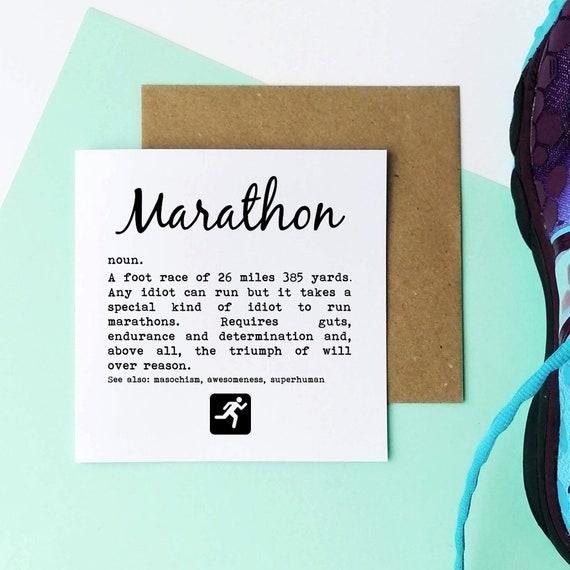 Marathon Definition - Marathon Card. Marathon Card, Marathon Runner Card, Running Card, Runner Card, Running Cards, Funny Marathon Card.