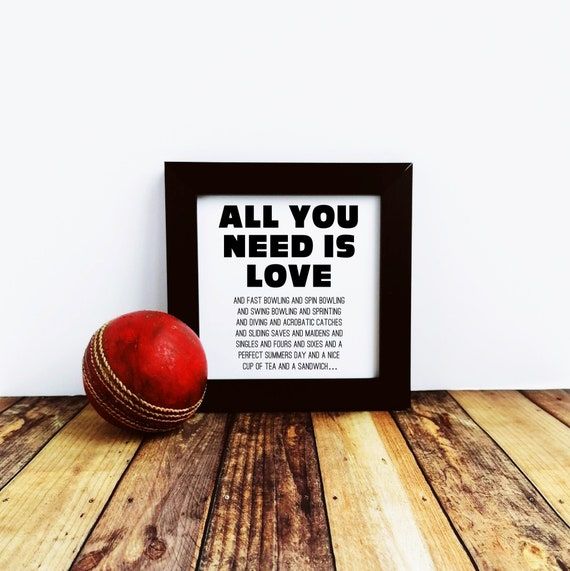 Cricket Gift - All you need is Love.... Small Framed Print. Cricket Wall Art. Cricket Art Print, Cricket Lover Gift. Cricket Player Gift