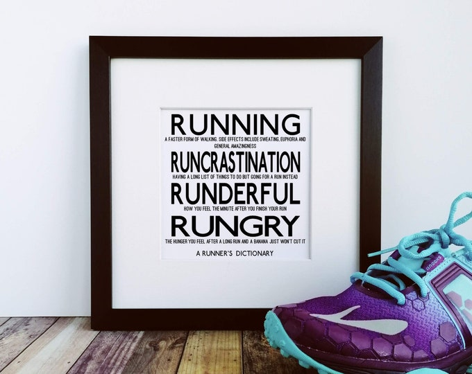 Large Framed Print - A Runner's Dictionary - Presents for Runners