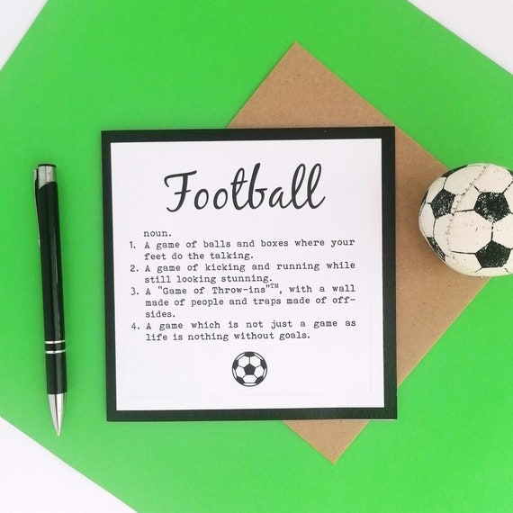 Greetings Card - Definition of Football - Football Presents