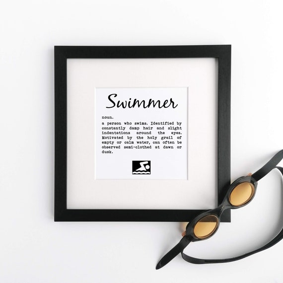 Gifts for Swimmers, Swimmer Definition - Large Framed Print. Gift for Swimmer, Swim Coach Gift, Swimmer Gift, Gifts for Female Swimmer