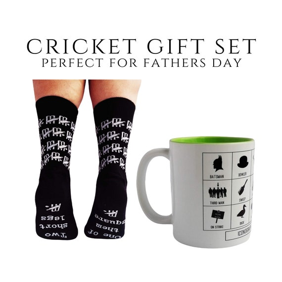 Cricket Gift - Cricket Icons Mug and Cricket Socks. Gift set for Cricketer, Fathers Day Cricket, Cricketer Gift. Cricket Dad. Funny Cricket.