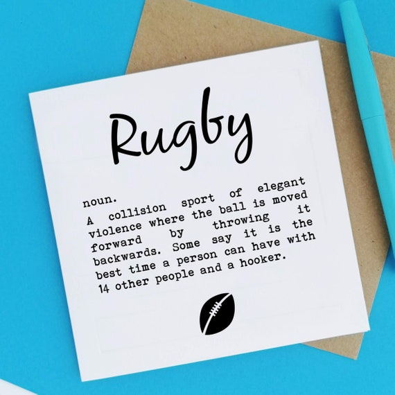 Rugby Definition. Rugby Card, Rugby Player Card, Rugby Lover Card, Card for Rugby Player, Card for Rugby Lover, Rugby Team, Rugby Supporter