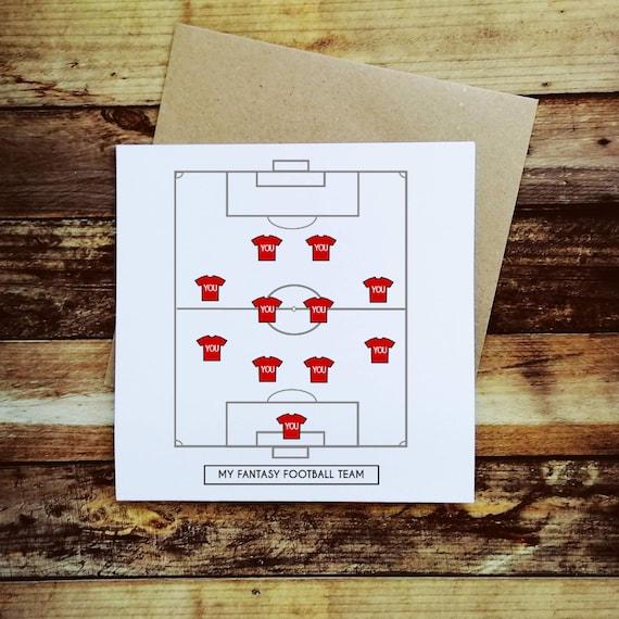 Football Card - My Fantasy Football Team - Football Valentines - Sports Valentine Card - Football Birthday Card - Anniversary Card