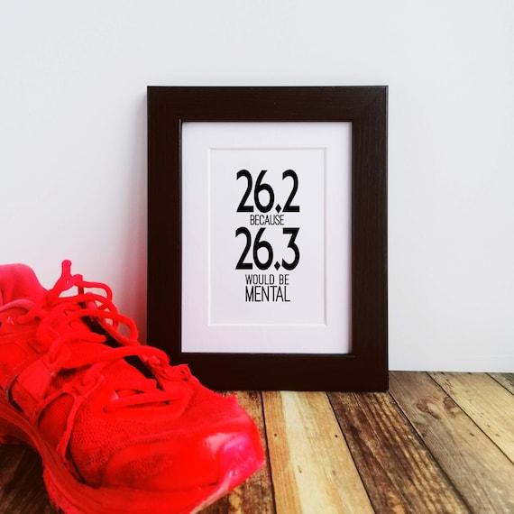 Marathon Gifts - 26.2 because. Letterbox Gift. Framed or Mounted. Marathoner Gift. Running Wall Art, Marathon Runner, Funny Marathon Gift