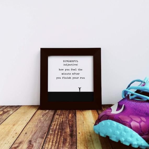 Runner Gifts - Small Framed Print, Runderful. Gifts for Runners, Running Gifts, Running Gifts for Women, Running Wall Art. Running Art