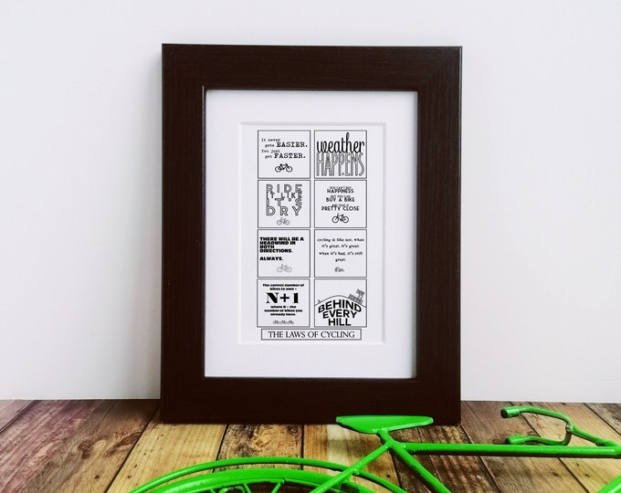Framed or Mounted Print - The Laws of Cycling - Presents for Cyclists