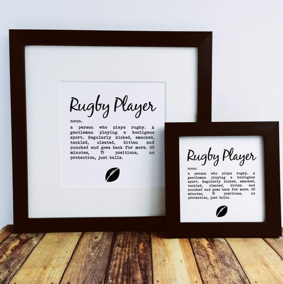 Rugby Gift - Rugby Player Definition - Framed Print. Father's Day Gift, Funny Rugby Gift, Rugby Gifts, Rugby Dad, Rugby Print