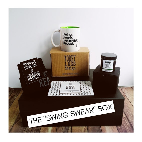 "Golf Gift Set - The ""Swing Swear"" Box - Hold Gifts for Men"