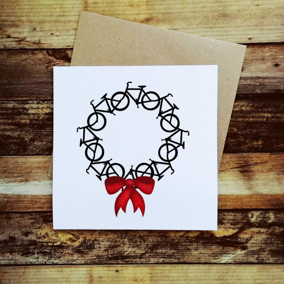 Cycling Christmas Card - Wreath of Bikes - Christmas Card for a Cyclist