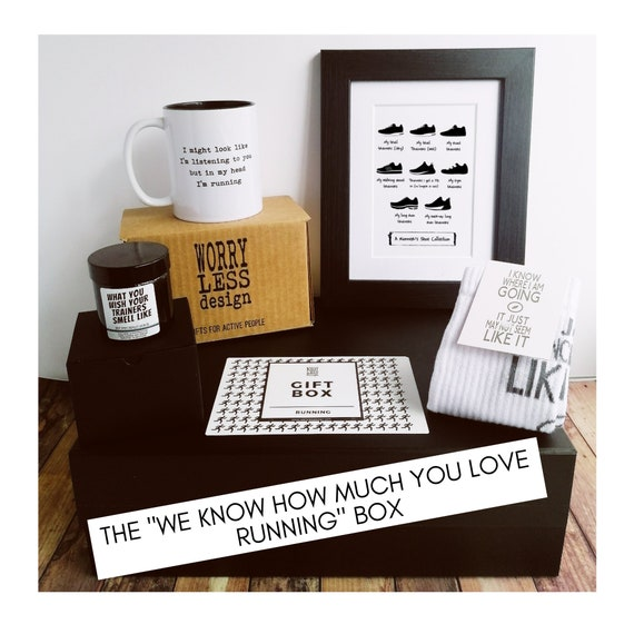 """Runner Gifts - Running Gift Set – The """"We know how much you love Running"""" Box. Running Gifts. Gift Box for Runner. Gifts for Runners."""