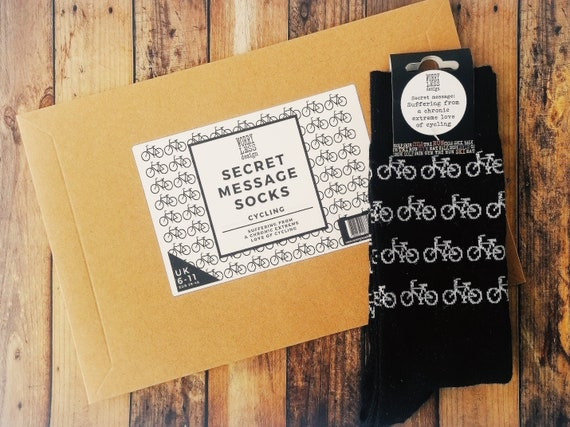Cyclist Gifts - Socks with a Secret Message - Bike gifts, Cyclist Birthday. Cyclist Birthday Socks, Cycling Lover Gift, Cycling Gifts Men.