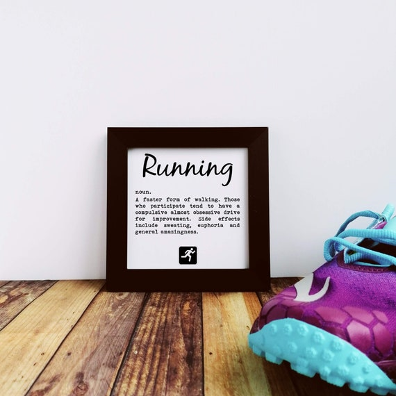 Running Gifts, Running Definition, Small Framed Print, Gifts for Runners, Running Wall Art, Funny Running Gift, Gift for Runner, Runner Gift