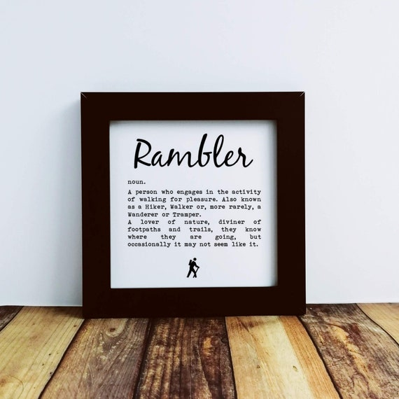Walking Gift - Small Framed Print, Rambler Definition. Walker Gift. Rambler Gift, Funny Walking, Hiker Gift, Gift for Hikers, Hiking Gift