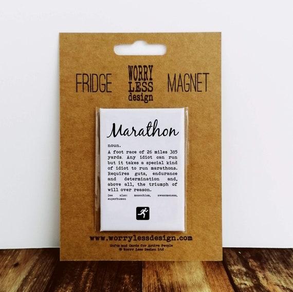 Marathon Gifts - Fridge Magnet - Marathon definition. Running Gifts, Gifts for Runners, Running Buddy Gift, Marathon Training Gift