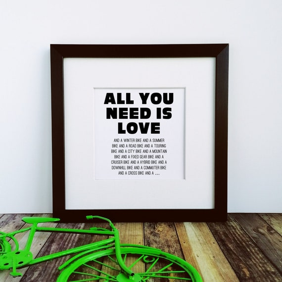 Large Framed Print - All You Need is Love - Best Gifts for Cyclists