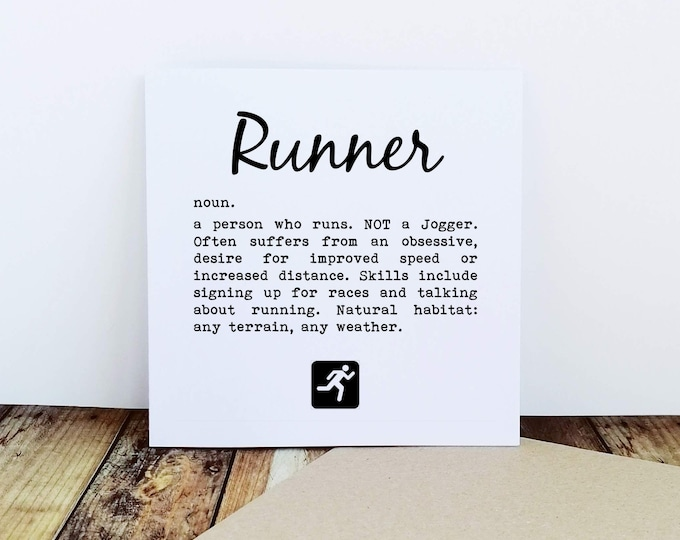 Greetings Card - Runner Definition - Gift Ideas for Runners