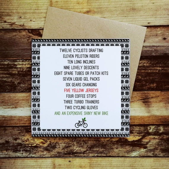 Cycling Christmas Card - The 12 Days of a Cycling Christmas - Christmas Card for a Cyclist