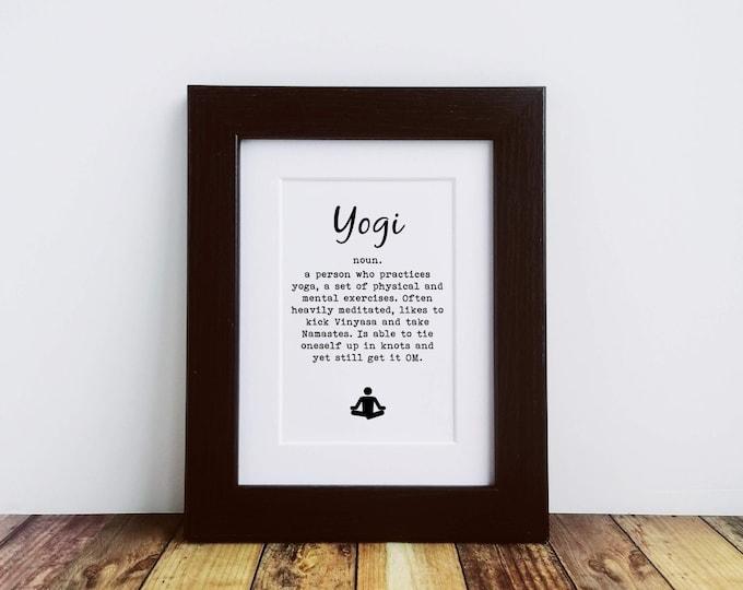 Framed or Mounted Print - Yogi Definition - Yoga Gift Ideas