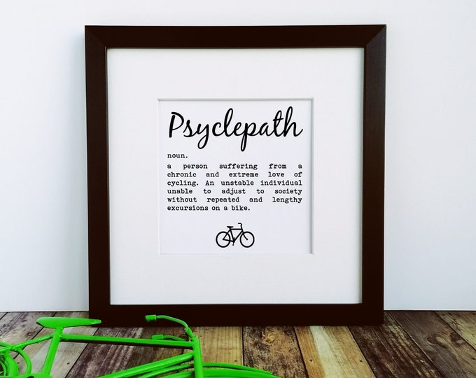 Large Framed Print - Psyclepath - Presents for Cyclists