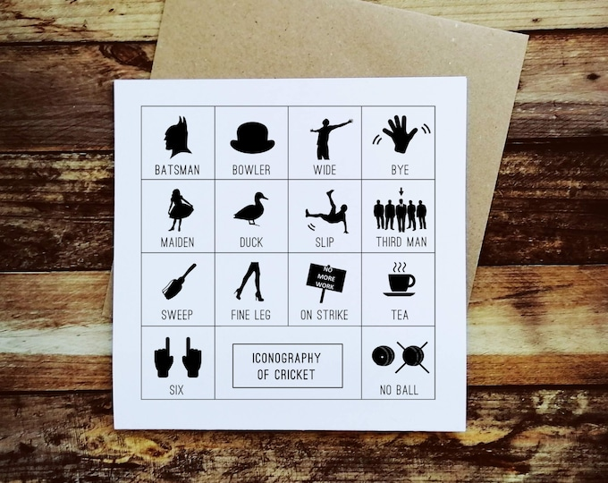 Cricket Card - Iconography of Cricket - Gifts for Cricket Lovers