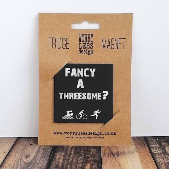 Fancy a Threesome? Triathlon Gift, Fridge Magnet, Gift for Triathlete. Triathlon Magnet. Ironman Gift. Triathlon Valentine. Funny Triathlon