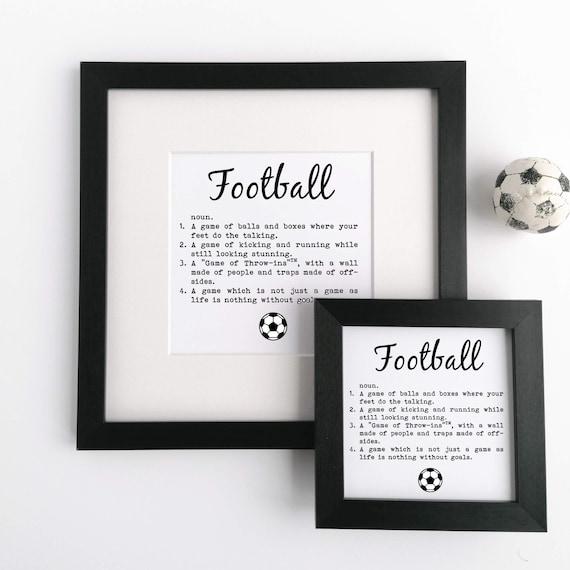 Football Gift - Framed Print, Football Definition. Soccer Gift. Gift for Footballer, Gift for Soccer Player. Football Gifts. Soccer Gifts.