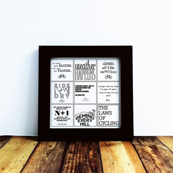 Cycling Gifts - The Laws of Cycling - Small Framed Print. Bike Gifts, Cycling Prints, Cyclist Wall Art, Cyclist Birthday, Mountain Bike Gift